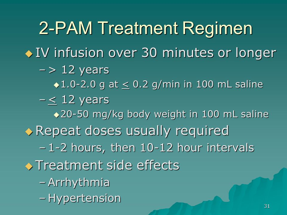 2-PAM Treatment Regimen