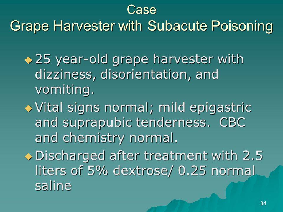 Case Grape Harvester with Subacute Poisoning