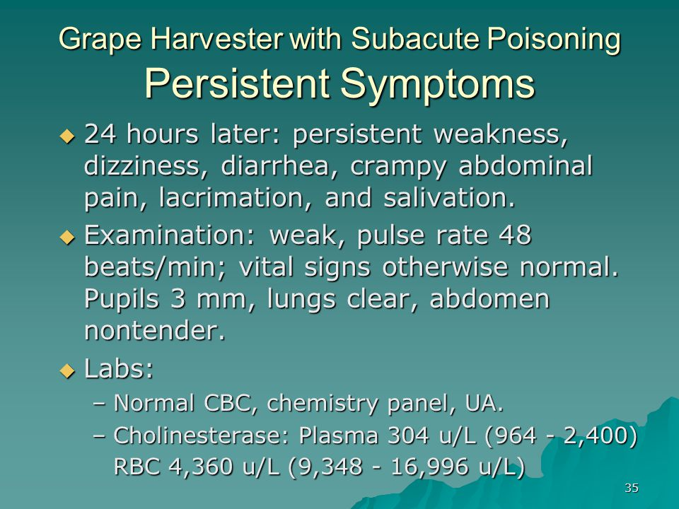 Grape Harvester with Subacute Poisoning Persistent Symptoms