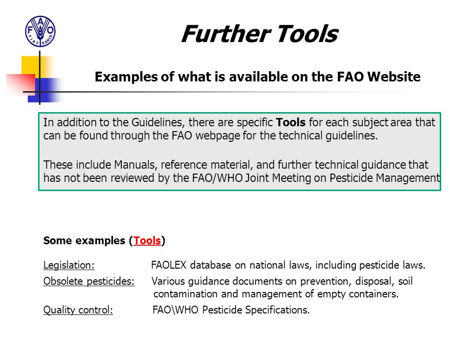 Examples of what is available on the FAO Website