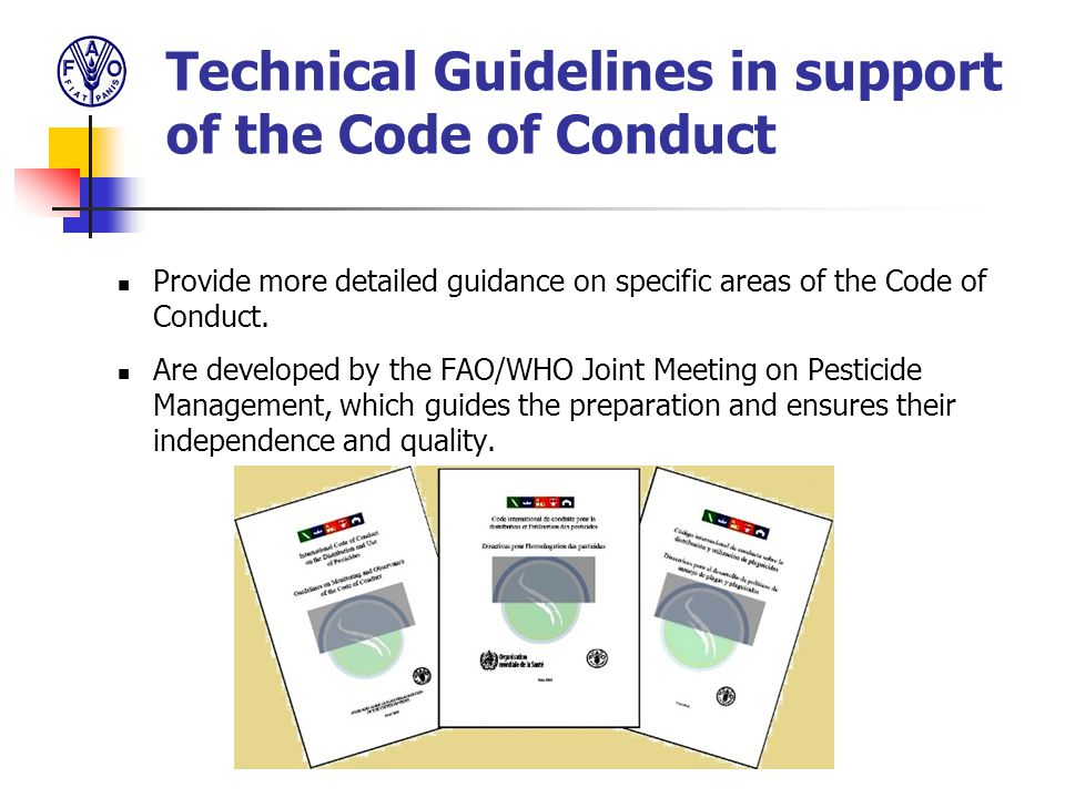 Technical Guidelines in support of the Code of Conduct