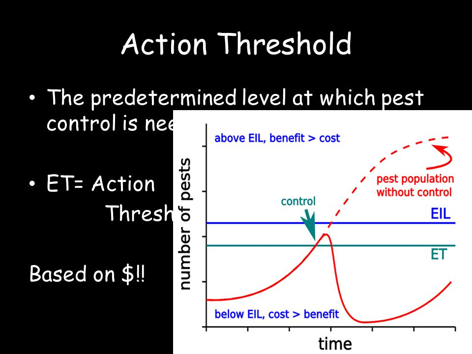Action Threshold The predetermined level at which pest control is needed.