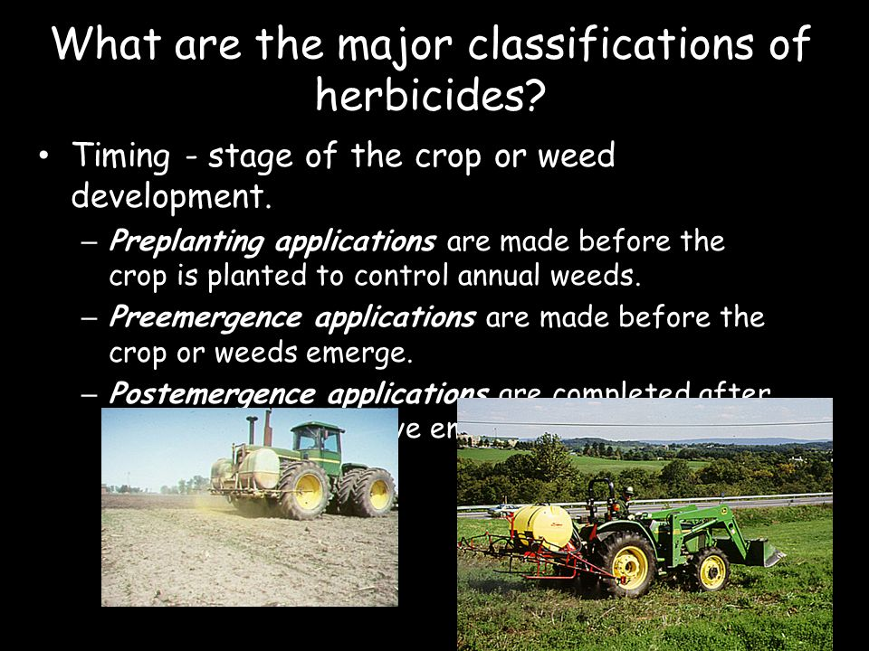 What are the major classifications of herbicides