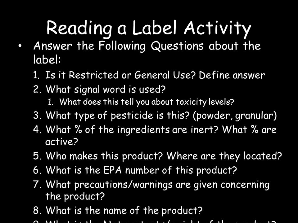 Reading a Label Activity