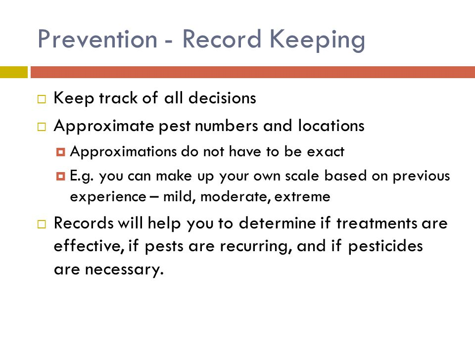 Prevention - Record Keeping