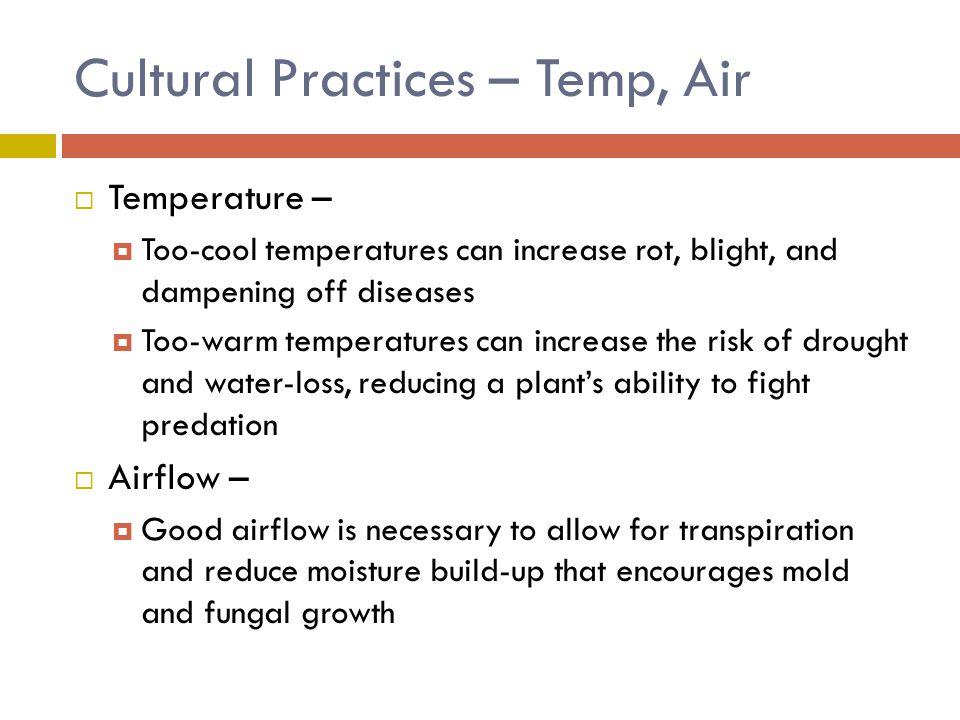 Cultural Practices – Temp, Air
