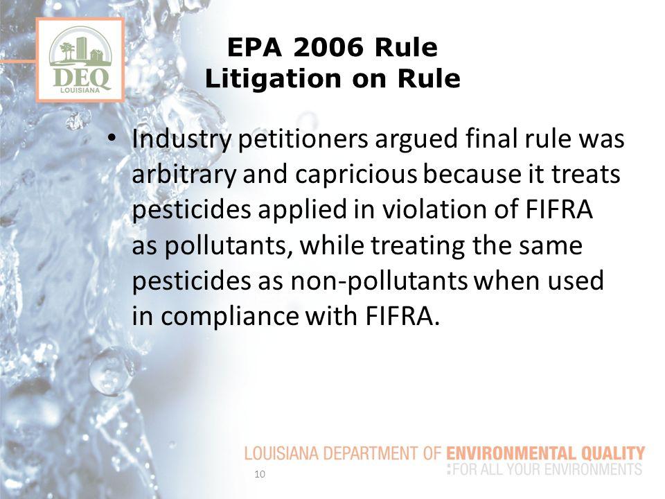 EPA 2006 Rule Litigation on Rule