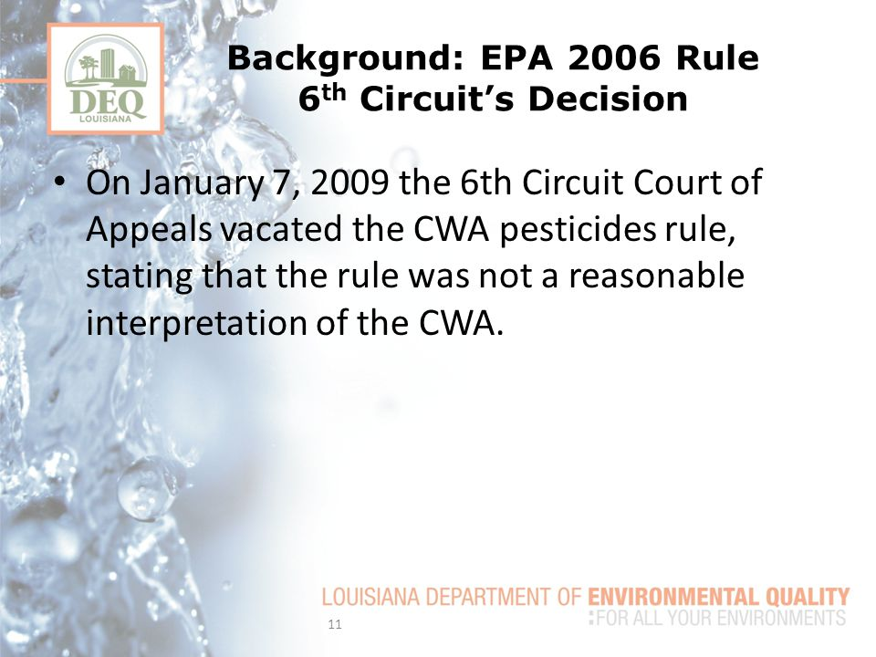 Background: EPA 2006 Rule 6th Circuit's Decision