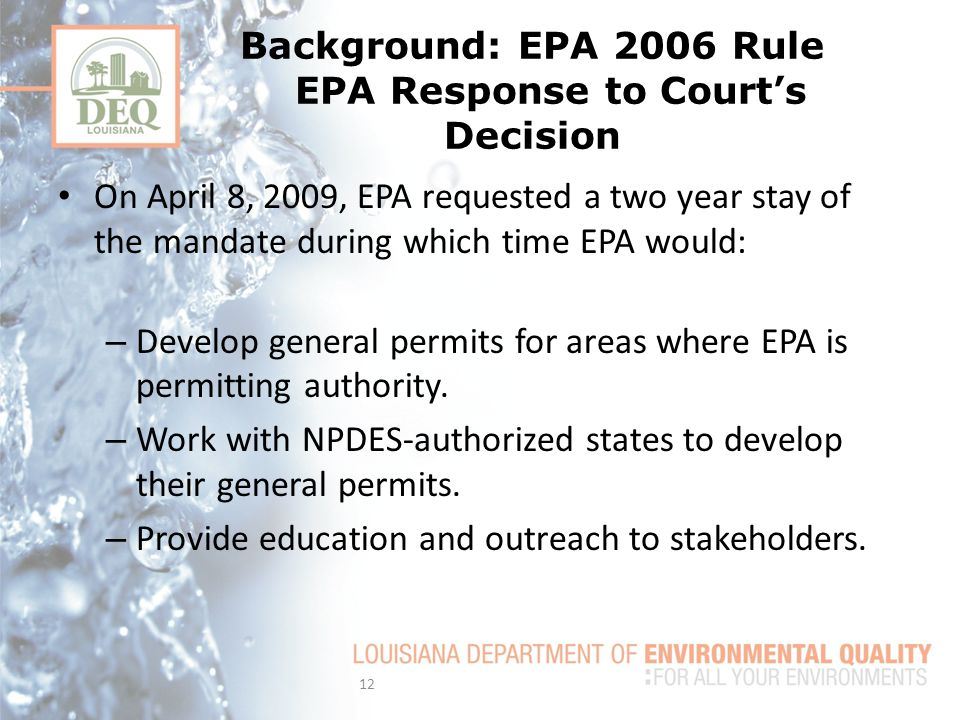 Background: EPA 2006 Rule EPA Response to Court's Decision