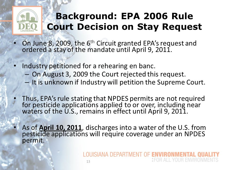 Background: EPA 2006 Rule Court Decision on Stay Request