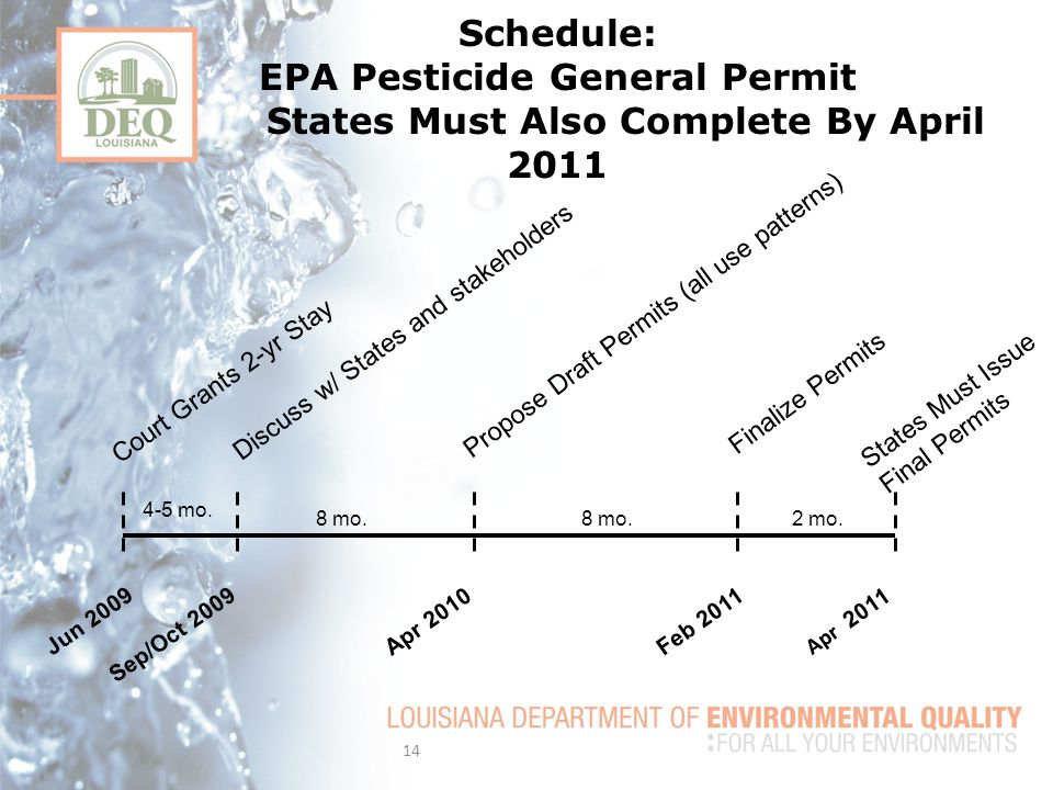 Schedule: EPA Pesticide General Permit States Must Also Complete By April 2011