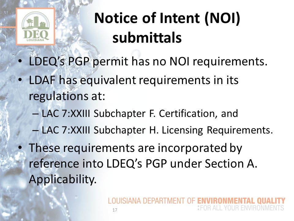 Notice of Intent (NOI) submittals