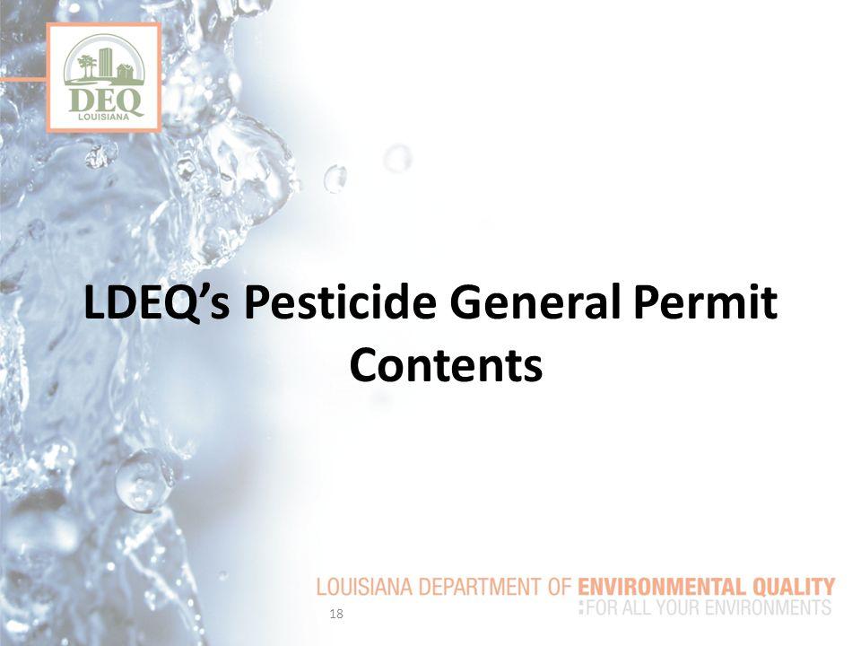 LDEQ's Pesticide General Permit Contents