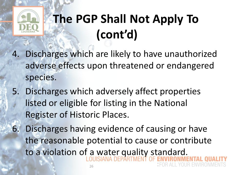 The PGP Shall Not Apply To (cont'd)
