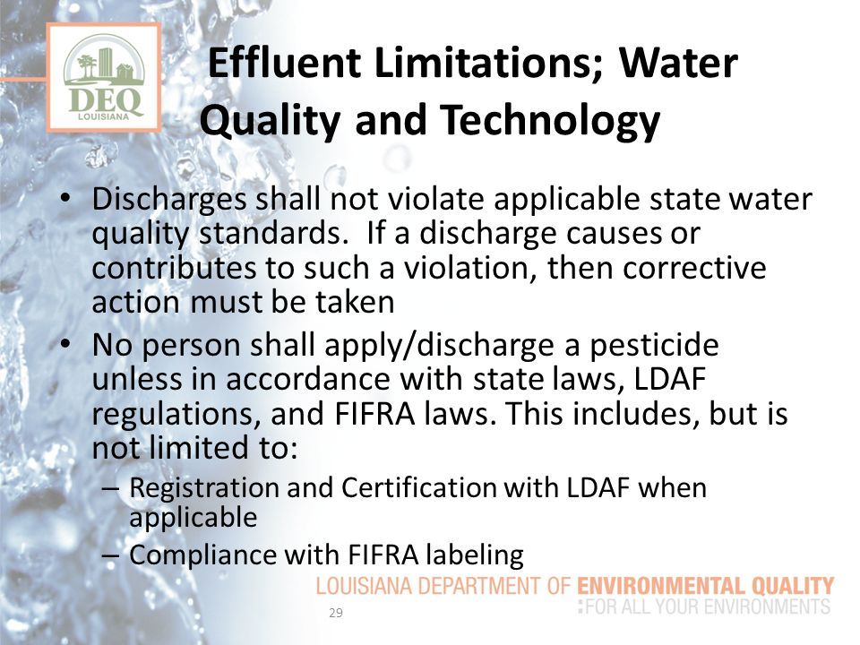 Effluent Limitations; Water Quality and Technology