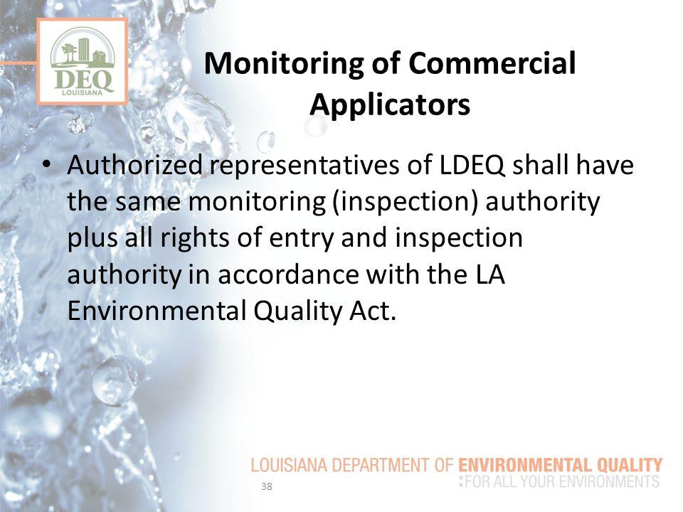 Monitoring of Commercial Applicators