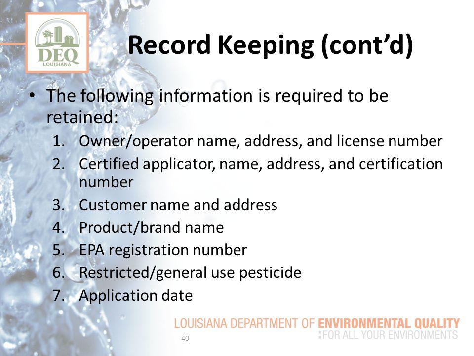 Record Keeping (cont'd)