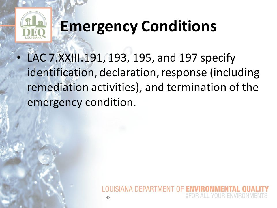 Emergency Conditions