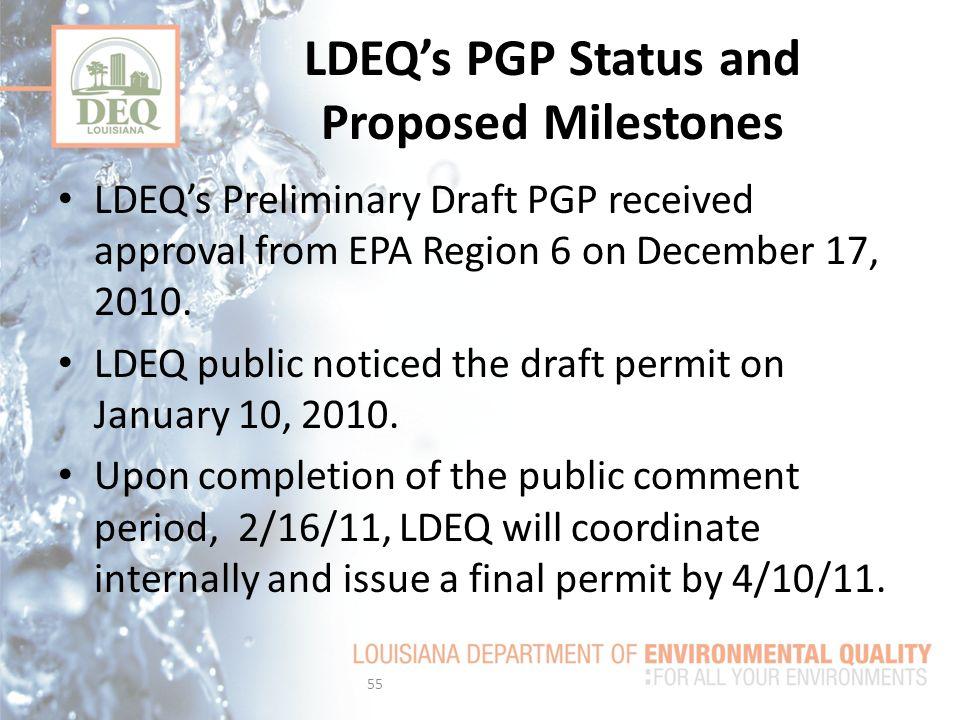LDEQ's PGP Status and Proposed Milestones