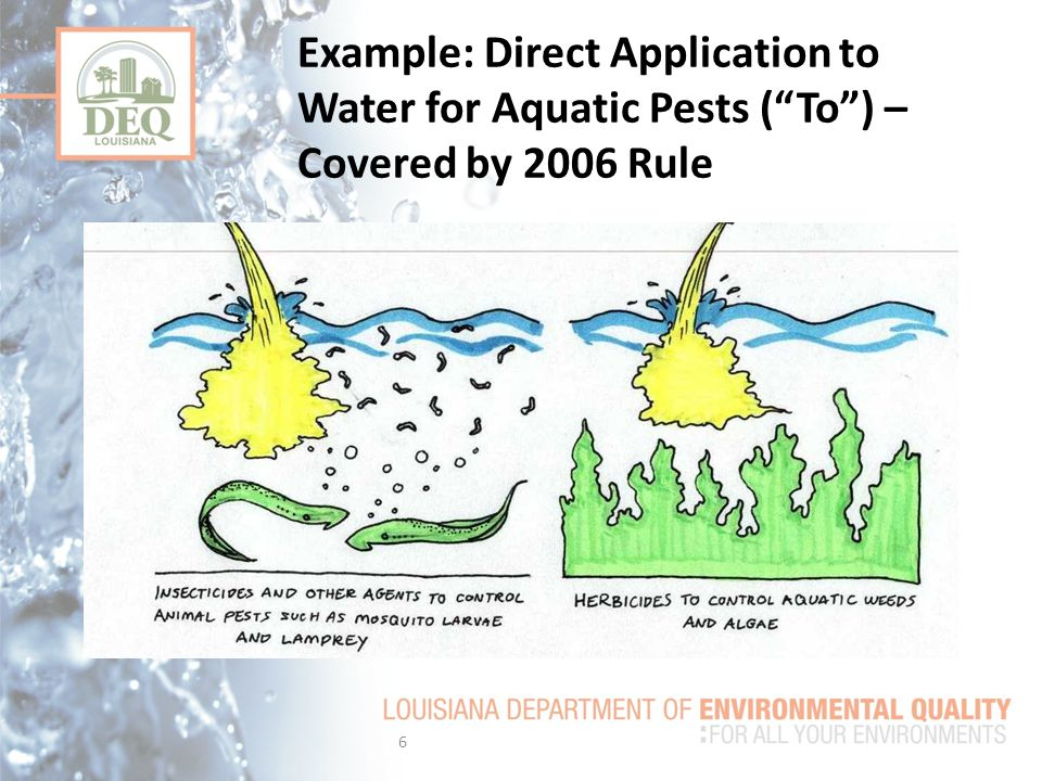 Example: Direct Application to Water for Aquatic Pests ( To ) – Covered by 2006 Rule