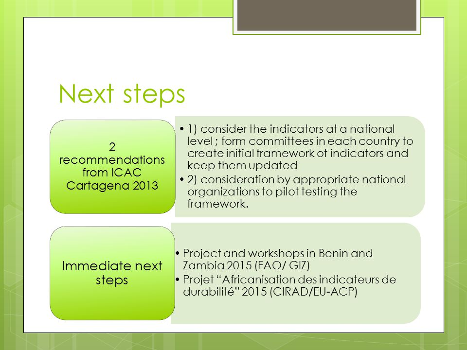 2 recommendations from ICAC Cartagena 2013