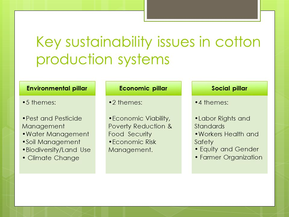 Key sustainability issues in cotton production systems