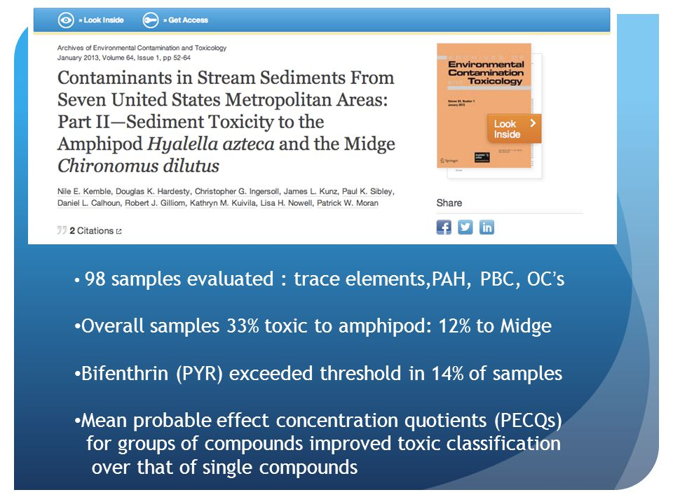 Overall samples 33% toxic to amphipod: 12% to Midge
