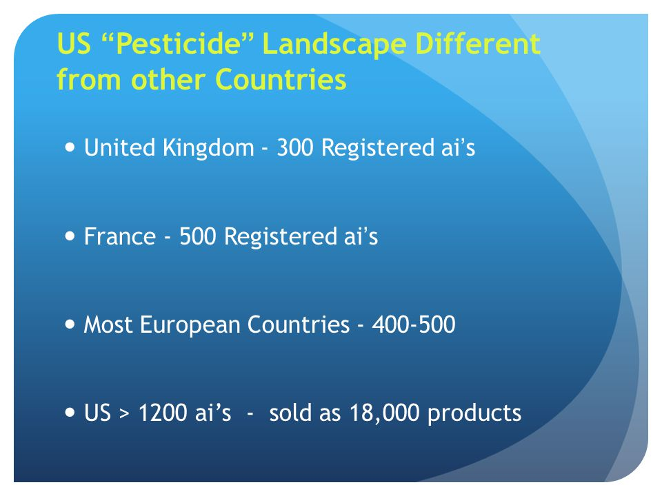 US Pesticide Landscape Different from other Countries