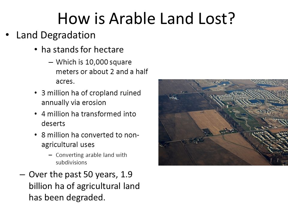 How is Arable Land Lost Land Degradation ha stands for hectare