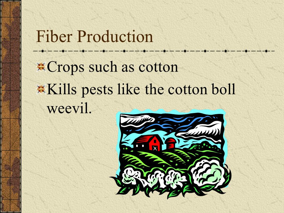 Fiber Production Crops such as cotton