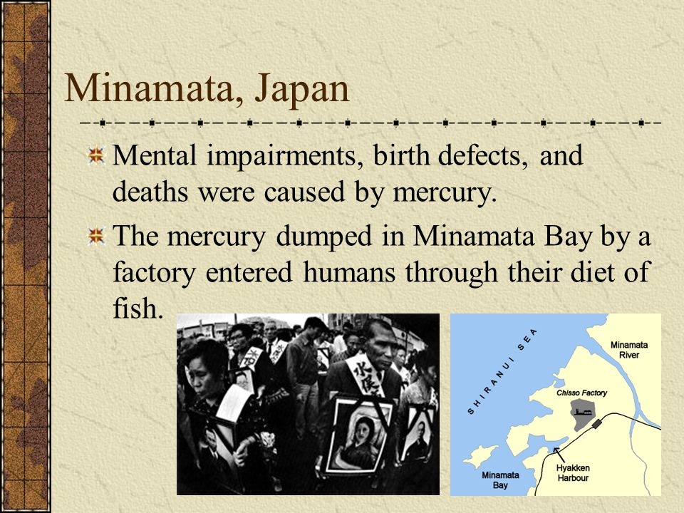 Minamata, Japan Mental impairments, birth defects, and deaths were caused by mercury.