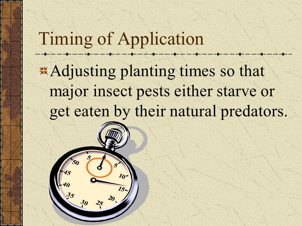 Timing of Application Adjusting planting times so that major insect pests either starve or get eaten by their natural predators.