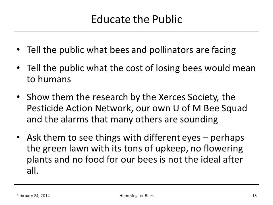 Educate the Public Tell the public what bees and pollinators are facing. Tell the public what the cost of losing bees would mean to humans.