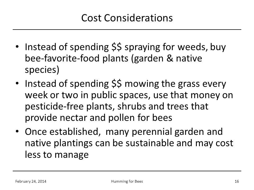 Cost Considerations Instead of spending $$ spraying for weeds, buy bee-favorite-food plants (garden & native species)