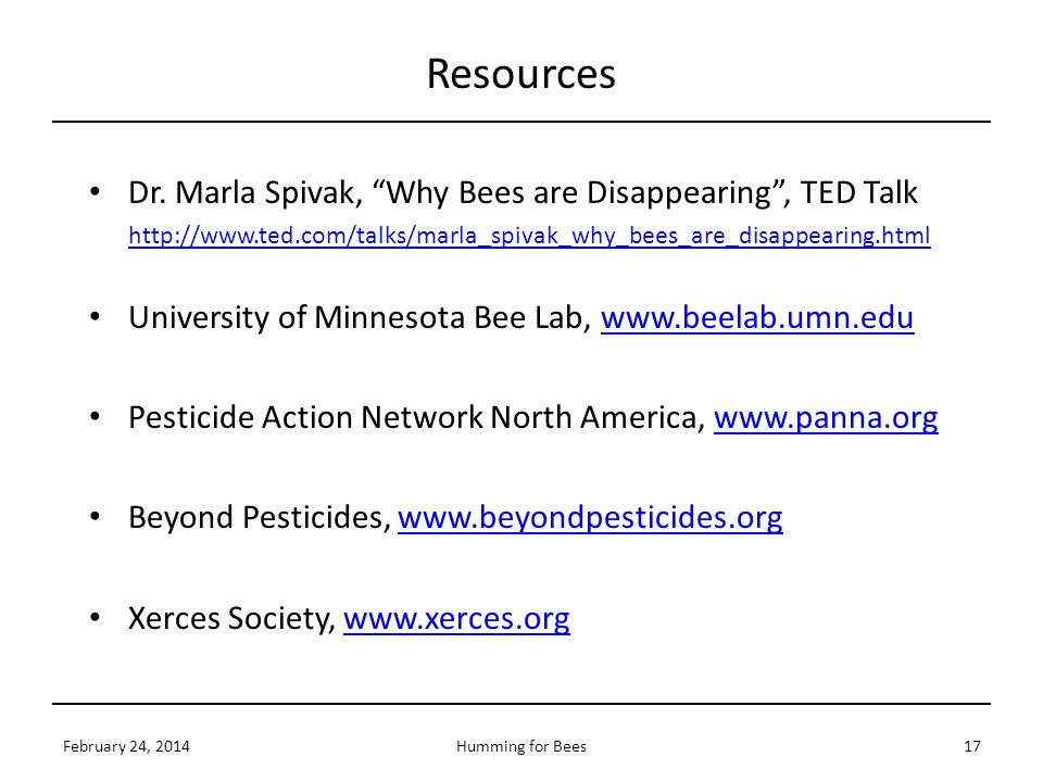 Resources Dr. Marla Spivak, Why Bees are Disappearing , TED Talk