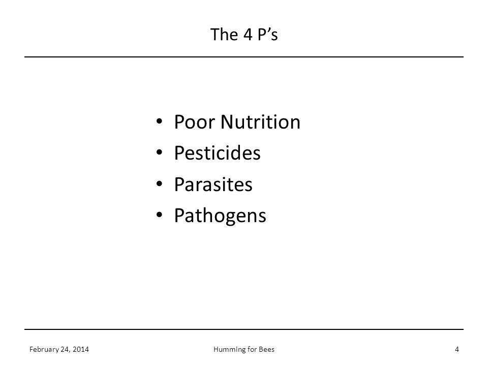 Poor Nutrition Pesticides Parasites Pathogens The 4 P's