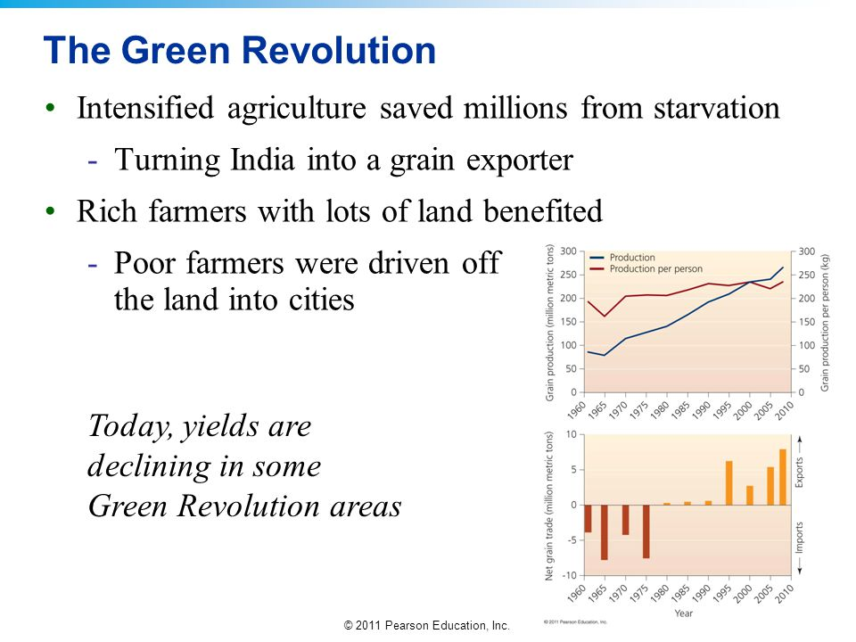 The Green Revolution Intensified agriculture saved millions from starvation. Turning India into a grain exporter.