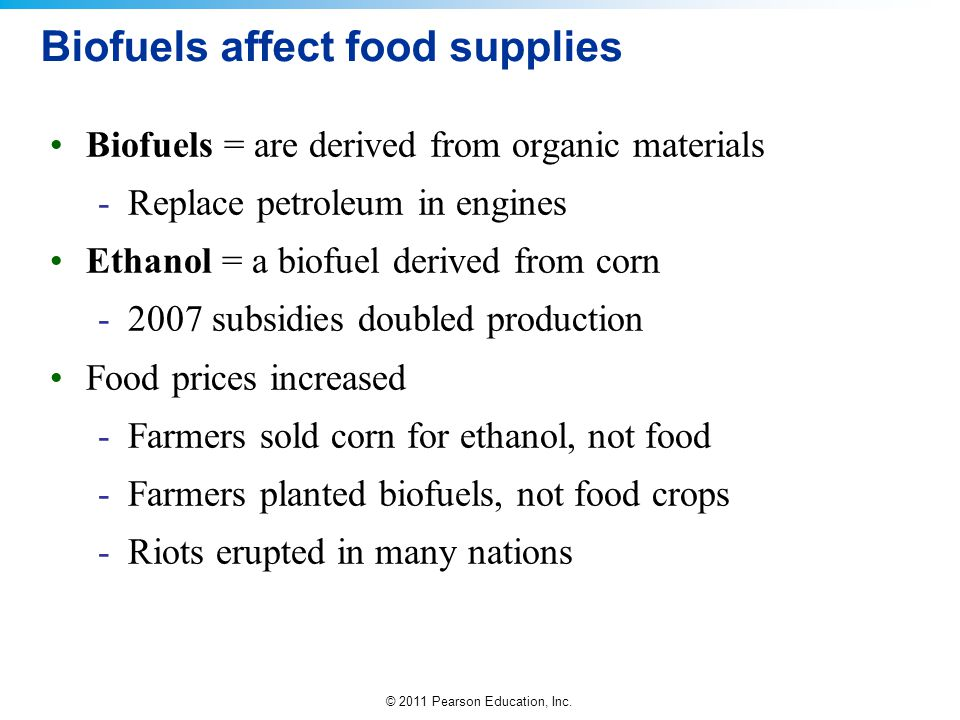 Biofuels affect food supplies