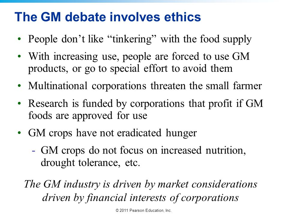 The GM debate involves ethics