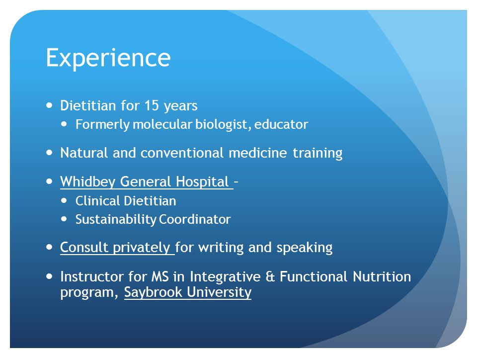 Experience Dietitian for 15 years