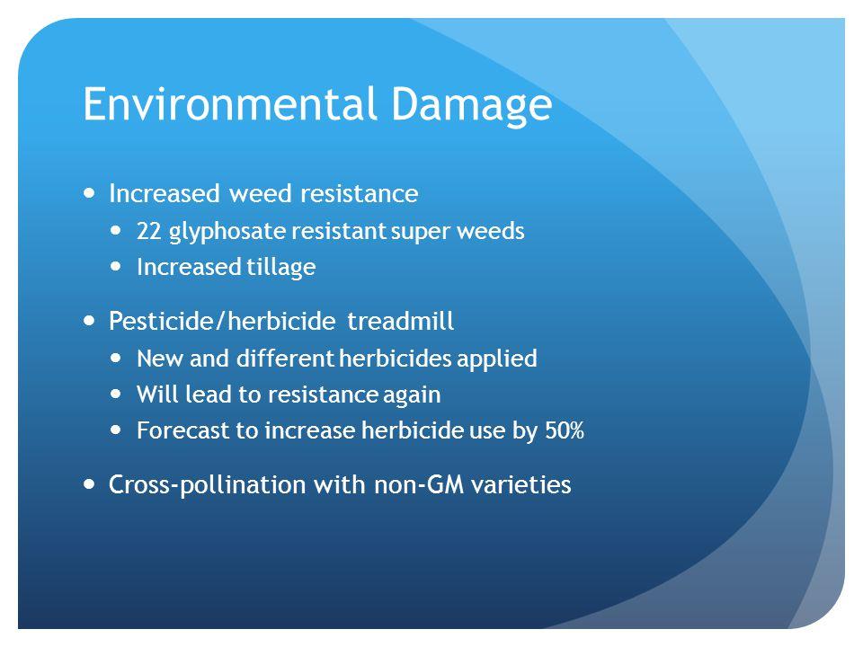 Environmental Damage Increased weed resistance