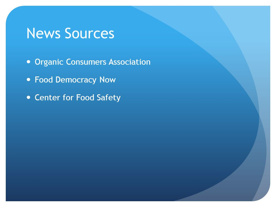 News Sources Organic Consumers Association Food Democracy Now