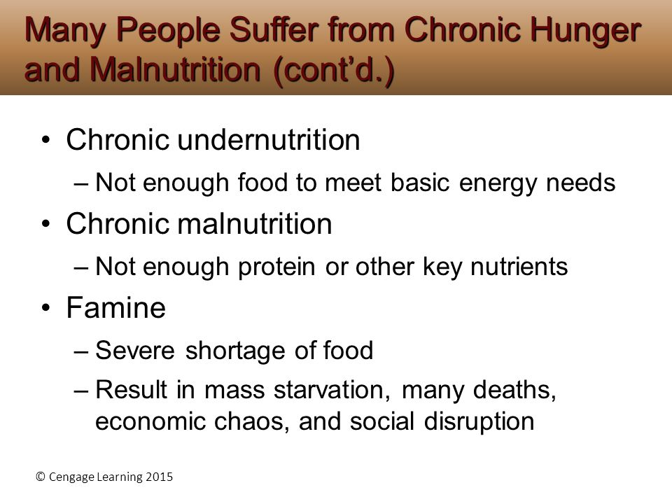 Many People Suffer from Chronic Hunger and Malnutrition (cont'd.)