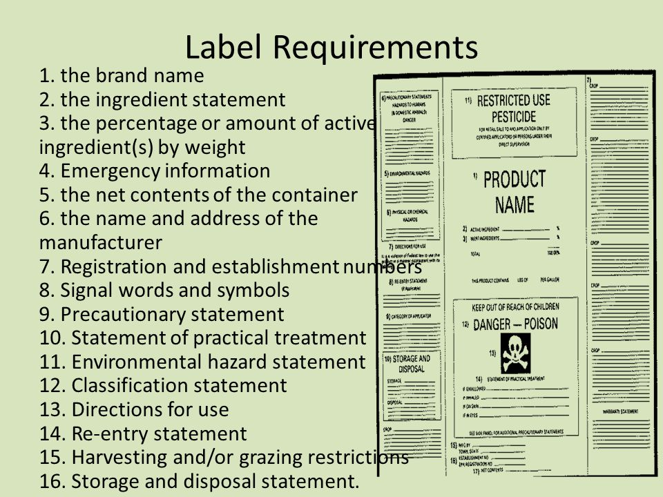 Label Requirements 1. the brand name 2. the ingredient statement