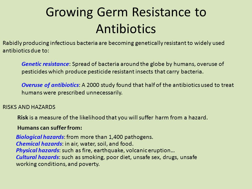 Growing Germ Resistance to Antibiotics