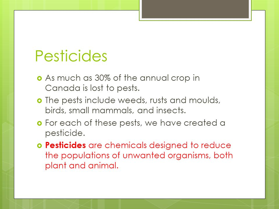 Pesticides As much as 30% of the annual crop in Canada is lost to pests.