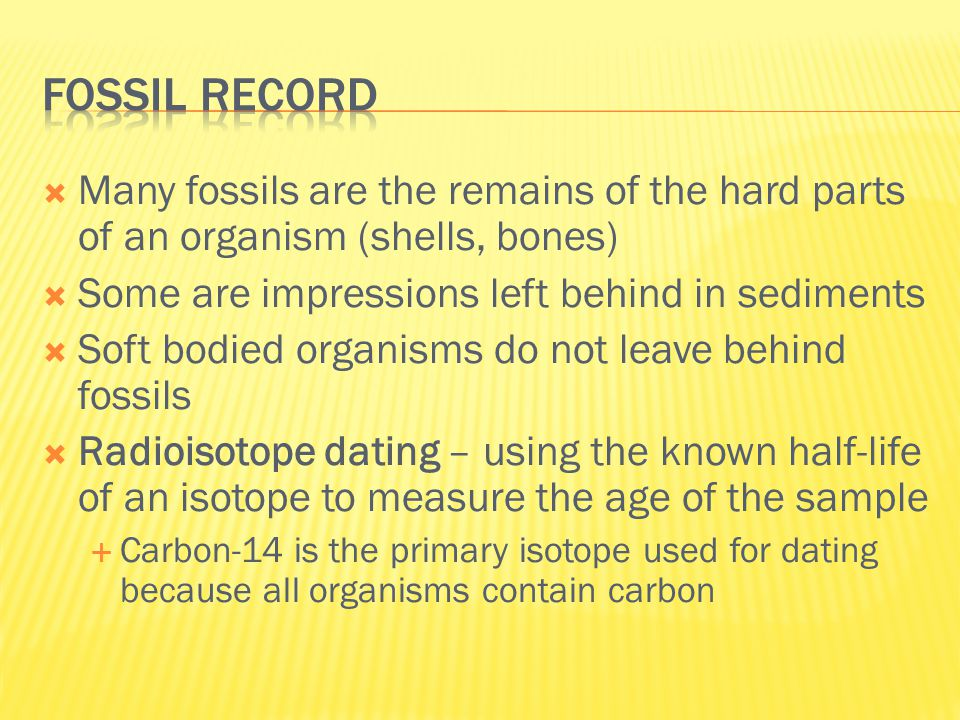 Fossil record Many fossils are the remains of the hard parts of an organism (shells, bones) Some are impressions left behind in sediments.