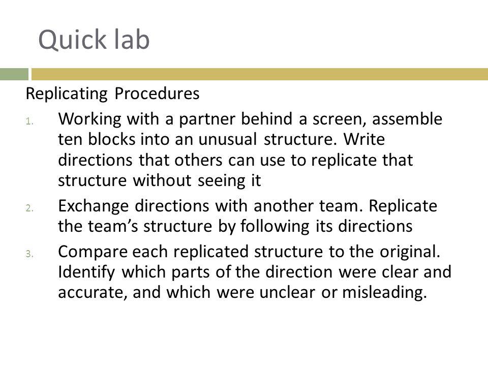 Quick lab Replicating Procedures
