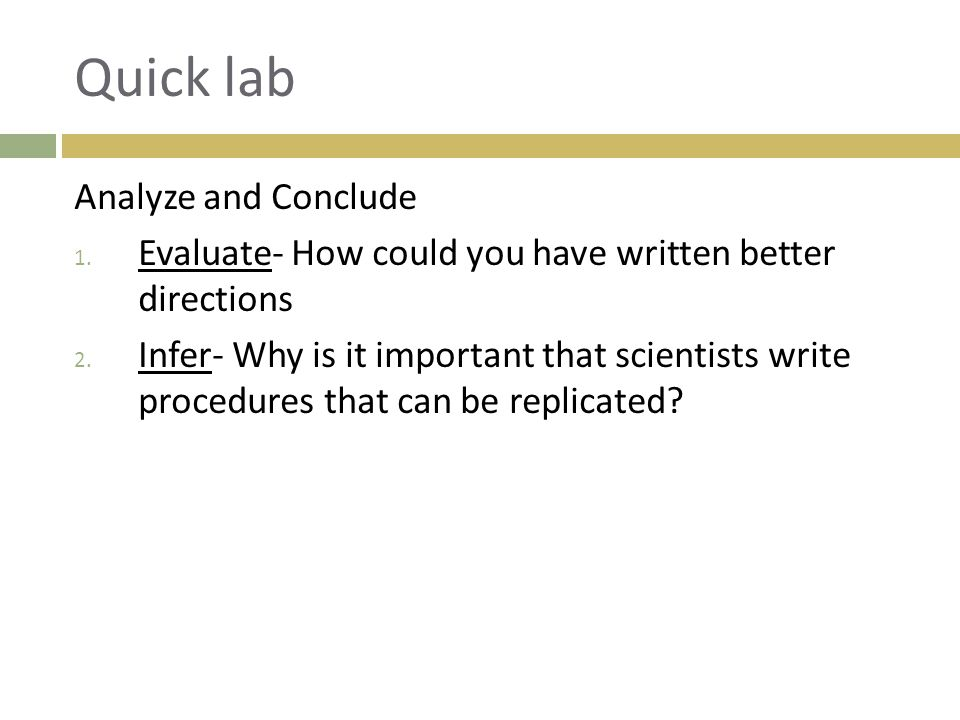 Quick lab Analyze and Conclude