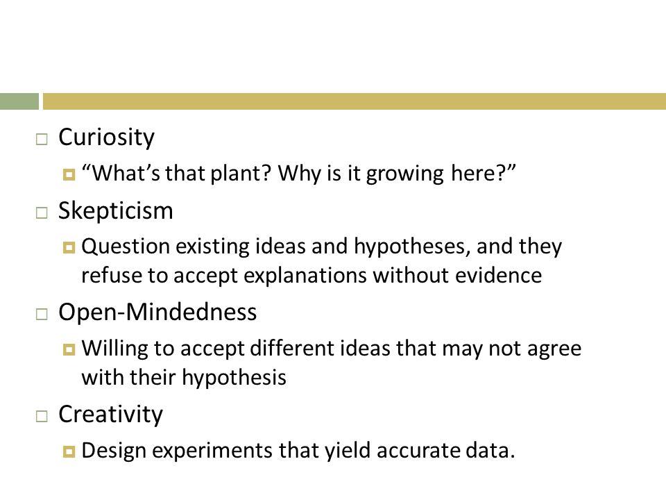 Curiosity Skepticism Open-Mindedness Creativity